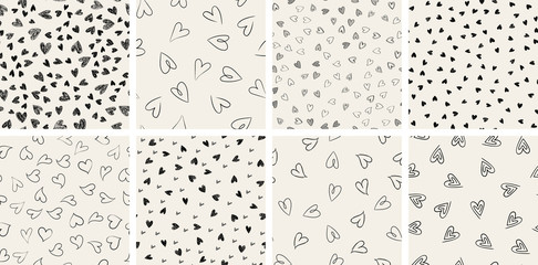 Tuinposter Kunstmatig Set of trendy hand-drawn doodle seamless pattern with hearts. Collection of valentines day backgrounds