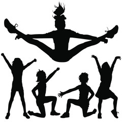 Vector silhouettes of young girls cheerleaders.