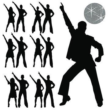 Vector silhouettes of men and women disco dancing.