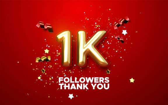One thousand. Thank you followers. Vector 3d illustration for blog or post design. 1K golden sign with confetti on red background. Social media festive banner.