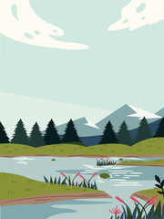 Printed kitchen splashbacks Light blue Beautiful modern view of nature landscape with forest, mountains,river,lake,waterfall,and pines. Banner, background scenery vector illustration
