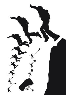 Vector silhouette of a BASE jumper jumping off a cliff.