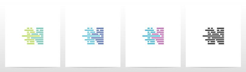 Lines And Dots Letter Logo Design N