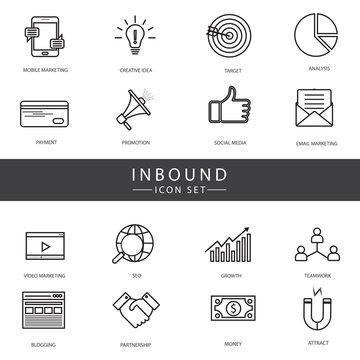 Inbound Marketing Vector line Icon Set