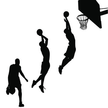 A vector silhouette of a blasetball player dunking the ball.