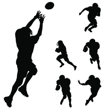 Vector silhouettes of American football players.