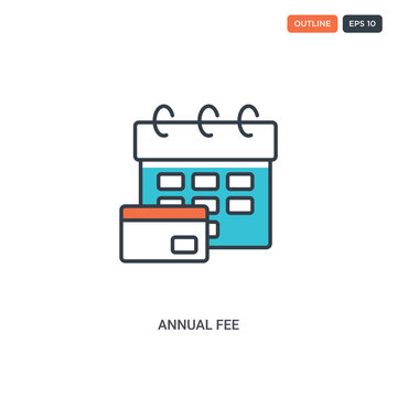 2 color Annual Fee concept line vector icon. isolated two colored Annual Fee outline icon with blue and red colors can be use for web, mobile. Stroke line eps 10.