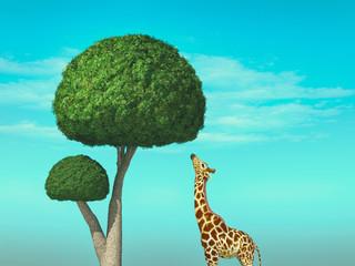 Foto auf AluDibond Reef grun Giraffe tree concept