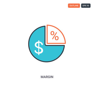 2 color Margin concept line vector icon. isolated two colored Margin outline icon with blue and red colors can be use for web, mobile. Stroke line eps 10.