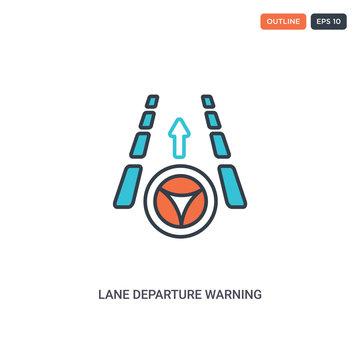 2 color Lane departure warning concept line vector icon. isolated two colored Lane departure warning outline icon with blue and red colors can be use for web, mobile. Stroke line eps 10.