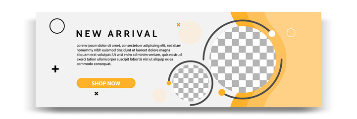 Abstract gradient modern geometric banner template design in yellow, orange, white color. Suitable for advertising and promotion in social media post, blog, web, cover, header. Vector Illustration.  Fotobehang