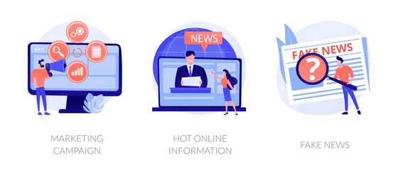Press and mass media icons set. Propaganda newscast, untruth information spread. Yellow press, hot online information, fake news metaphors. Vector isolated concept metaphor illustrations.