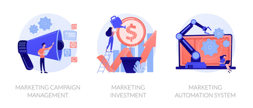 Business growth ways icon set. Workflow modernization. Marketing campaign management, marketing investment, marketing automation system metaphors. Vector isolated concept metaphor illustrations.