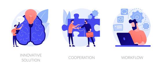 Fototapeta Effective work icons set. Creative ideas generation, team building, productivity management. Innovative solution, cooperation, workflow metaphors. Vector isolated concept metaphor illustrations obraz