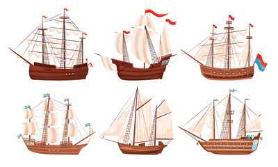 Foto op Aluminium Schip Vintage Sailing Ships Collection, Old Wooden Boats with White Sails and Flags Vector Illustration