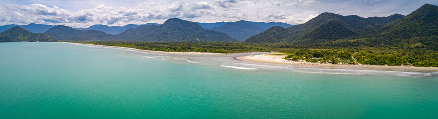 Zelfklevend Fotobehang Kust Aerial view panorama of Green Coast shoreline with turquoise water, beach, river and green mountains, Brazil