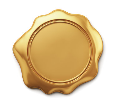 Gold sealing wax seal on a white background. 3d render illustration.