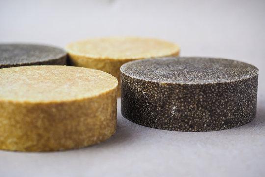 Colorful round solid shampoo bars (zero waste)