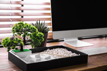 Printed roller blinds Zen Modern workplace with beautiful miniature zen garden and computer in room