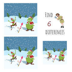Find 6 differences. Educational game for children. Cartoon goblins in Santa's hat with firework. Christmas puzzle