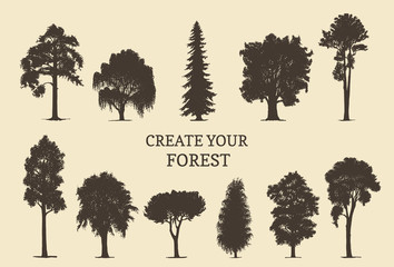 Hand drawn silhouettes of different trees. Create your own forest. Vector sketches of coniferous or deciduous woods.