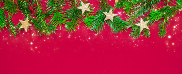 Merry Christmas or New Year decoration red background