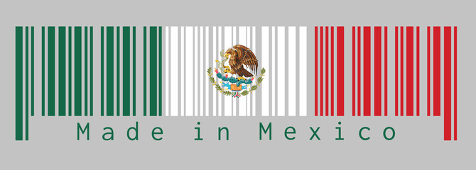Barcode set the color of Mexico flag, a vertical tricolor of green white and red with the nation Coat of Arms centered on white. text: Made in Mexico. Concept of sale.