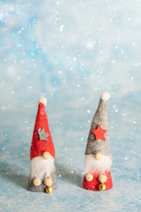 Two little Christmas gnome with pointed hats