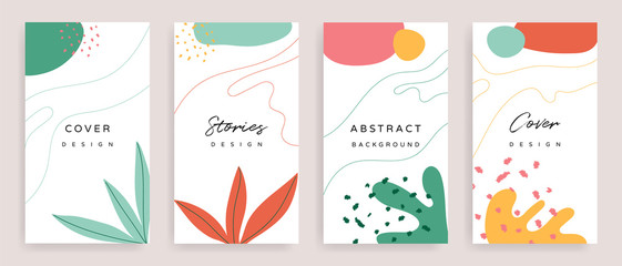 Fotobehang - Social media stories and post creative Vector set. Background template with copy space for text and images design by abstract colored shapes,  line arts , Tropical leaves  warm color of the earth tone