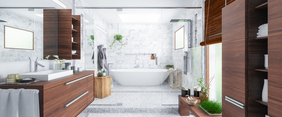 Panorama of a Modern Bathroom - 3d visualization