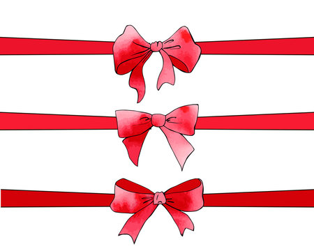 Festive red ribon tied bows with watercolor texture. Holiday collection. For postcards, greetings, cards, logo. Hand drawn package and box decoration. Birthday, anniversary, Valentine, Christmas gift.