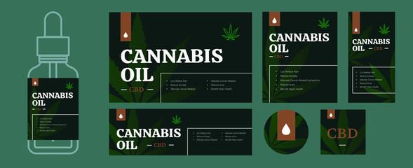 CBD oil packaging design template bundle. Legal cannabis labels in different size. Hemp leave and herb drop for presentation or print. Medical matijuana isolated vector illustration.  Wall mural