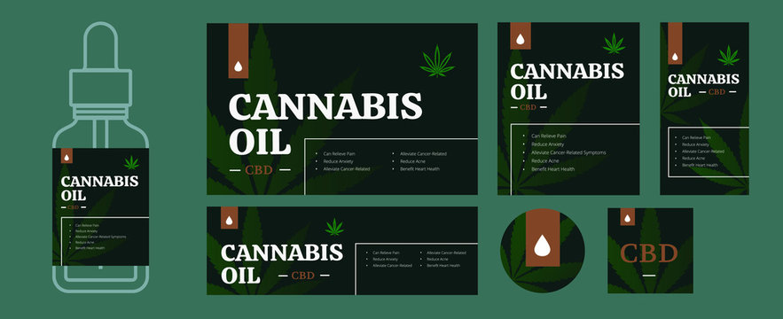 CBD oil packaging design template bundle. Legal cannabis labels in different size. Hemp leave and herb drop for presentation or print. Medical matijuana isolated vector illustration.