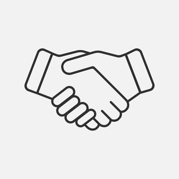 Handshake icon isolated on white background. Vector illustration.