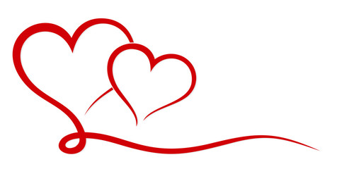 The stylized symbol with red hearts.