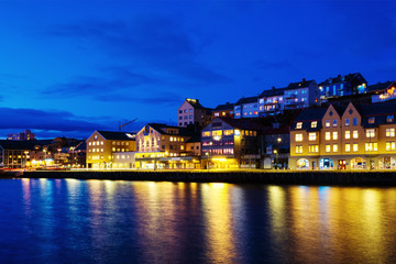 Wall Mural - View of city center of Kristiansund, Norway during the cloudy night