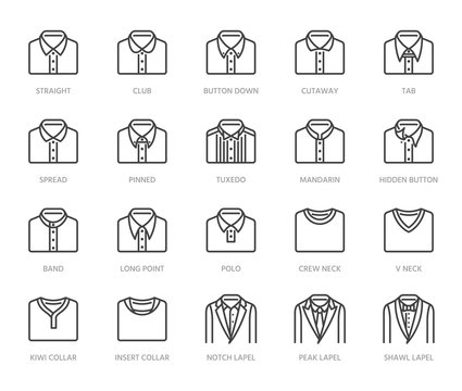 Shirt collars, jacket types flat line icons set. Formal clothing vector illustrations, classic white collar, tuxedo, polo. Outline pictogram for menswear store. Pixel perfect 64x64. Editable Strokes