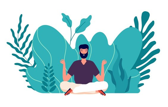 Meditation concept. Man healed, energy balance and find harmony life. Male zen, health and wellbeing. Focus on business idea vector illustration. Balance and harmony pose, health relax yoga