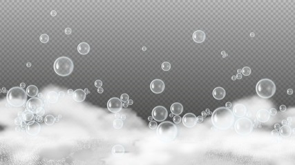 Soap foam. White suds, shiny water bubbles. Shampoo or shower gel lather isolated on transparent background. Realistic foam vector background. Illustration shampoo foam, soap white