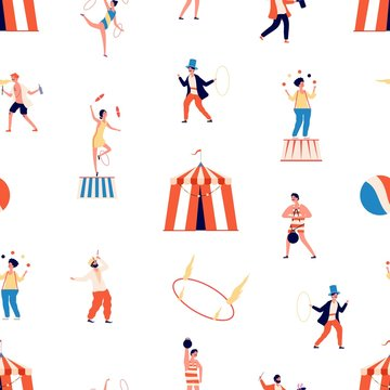 Circus seamless pattern. Freak show vector background. Clown and magician, juggler and balancer and gymnast characters. Circus carnival, clown performance, entertainment performer illustration