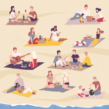 People Having Picnic in the Park Set, Friends Characters Relaxing, Eating and Communicating on Nature Flat Vector Illustration