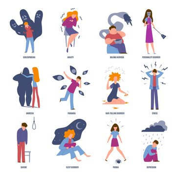 Mental illness set. Illustrated disorder emotions eating anarexia suicide stress and addiction problems isolated vector collection