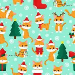 Childish seamless pattern. Cute kawaii cartoon cat with Christmas tree and gifts. Happy New Year.