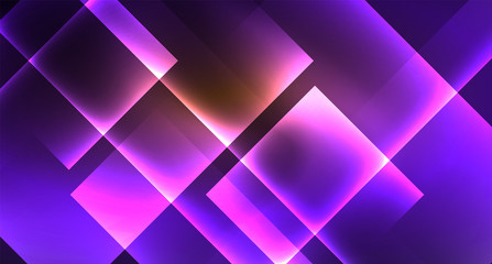 Shiny neon design square shape abstract background. Retro vector abstract design banner template
