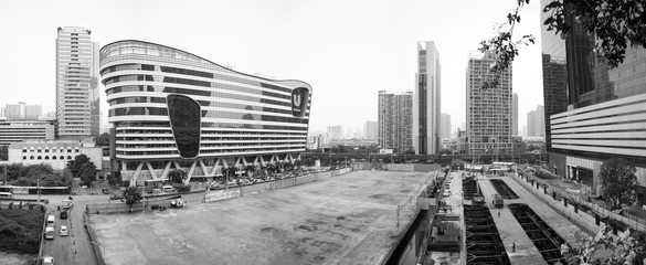 BANGKOK, THAILAND - OCTOBER 11, 2016_Panoranic view of the Unilever House and the Super Tower construction site in THE GRAND RAMA 9, a mega project in Bangkok city