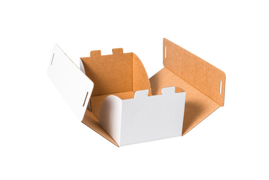 White carton cake box with cover, isolated