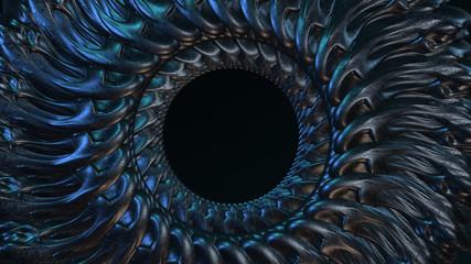 Poster Spiraal Organisches Design: metallische Spirale mit Loch