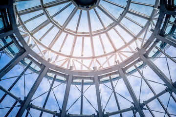 Round Metal ceiling modern architecture with blue sky in the background