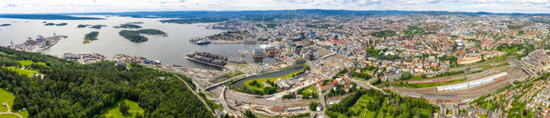 Oslo, Norway. Large aerial panorama of the city