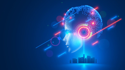 AI controls smart city infrastructure. Artificial intelligence analyze big data urban systems. Abstract cybernetics silhouette head woman with neural network brain in cyberspace. Futuristic concept. Wall mural